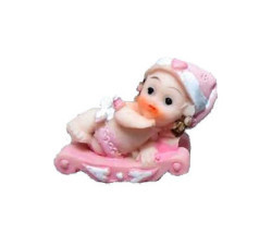 Kızakta Bebek Pembe Biblo - Thumbnail