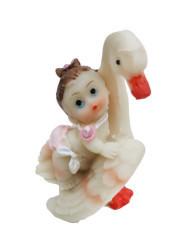 Leyleğin Kanatlarında Bebek Pembe Biblo - Thumbnail