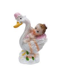 Leylek Üstünde Bebek Pembe Biblo