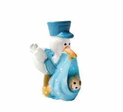 - Şapkalı Leylek Mavi Küçük Biblo