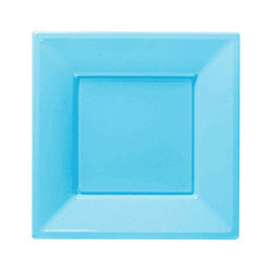 - Bebek Mavisi Büyük Plastik Kare Tabak (23x23 cm) 8'li Paket
