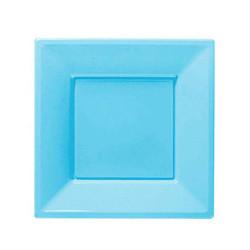 - Bebek Mavisi Küçük Plastik Kare Tabak (17x17 cm) 8'li Paket