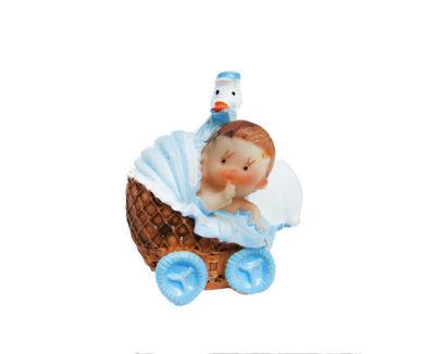 Pusetli Leylekli Bebek Mavi Biblo