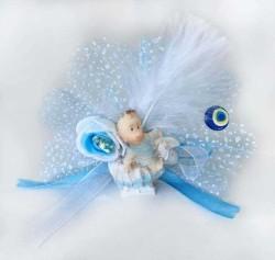 - Bebek Şekeri Süslü Atlı Kızakta Mavi 50'li