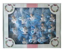 Bebek Şekeri Süslü Atlı Kızakta Mavi 50'li - Thumbnail