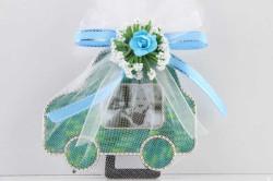 - Arabalı Çerçeve Süslü Mavi Bebek Şekeri