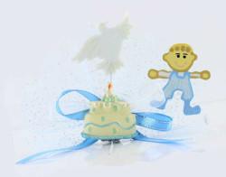 - Çocuk Pastalı Süslü Mavi Bebek Şekeri