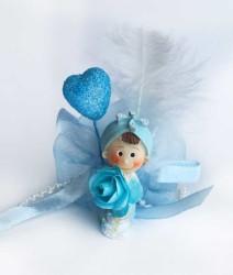 - Kalp Balonlu Mavi Bebek Şekeri