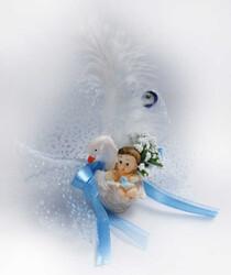 - Bebek Şekeri Süslü Kuğu Üstünde Mavi Kutulu P50