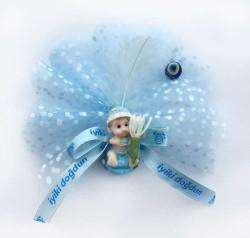 - Şapkalı Elinde Çiçek Mavi Bebek Şekeri 50'li Paket