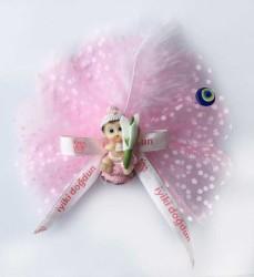 - Şapkalı Elinde Çiçek Pembe Bebek Şekeri 50'li Paket
