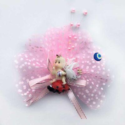 Uğur Böceği Üstünde Pembe Bebek Şekeri 50'li Paket