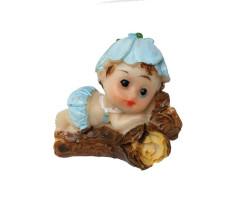 - Ağaç Üstünde Bebek Mavi Biblo