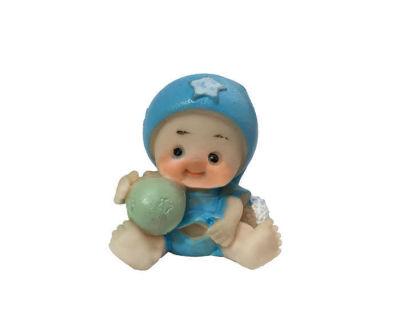 Toplu Şapkalı Bebek Mavi Biblo