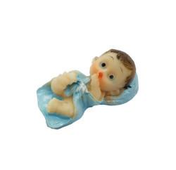Yastıklı Bebek Mavi Biblo - Thumbnail