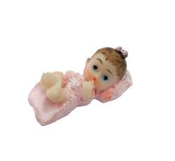 Yastıklı Bebek Pembe Biblo - Thumbnail