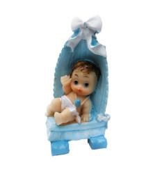 Yatağında Bebek Fiyonklu Mavi Biblo - Thumbnail