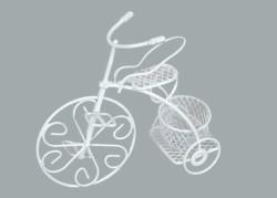 Sepetli Tel Bisiklet Beyaz - Thumbnail