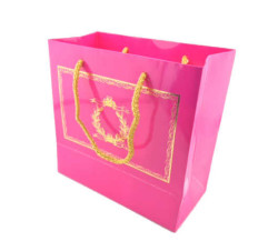 - Altın Varaklı Fuşya Karton Çanta (20x20 cm)