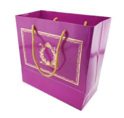 - Altın Varaklı Mor Karton Çanta (20x20 cm)