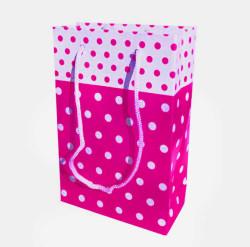 - Puanlı Fuşya Karton Çanta Küçük Boy (12x17 cm)