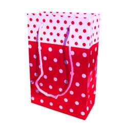 - Puanlı Kırmızı Karton Çanta Küçük Boy (12x17 cm)