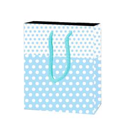 - Puanlı Mavi Karton Çanta Küçük Boy (12x17 cm)