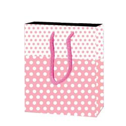 - Puanlı Pembe Karton Çanta Küçük Boy (12x17 cm)