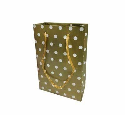 Puanlı Altın Karton Çanta Küçük Boy (12x17 cm)