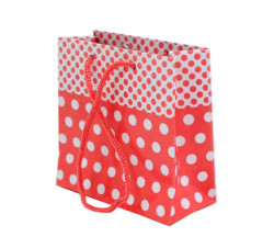 - Puantiyeli Kırmızı Karton Çanta Minik Boy (11x11 cm)