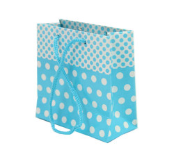 - Puantiyeli Mavi Karton Çanta Minik Boy (11x11 cm)