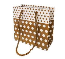 - Puantiyeli Altın Karton Çanta Minik Boy (11x11 cm)
