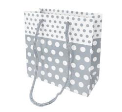 - Puantiyeli Gümüş Karton Çanta Minik Boy (11x11 cm)