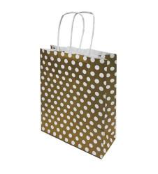 - Puantiyeli Altın Kraft Çanta Küçük Boy (19x24 cm)
