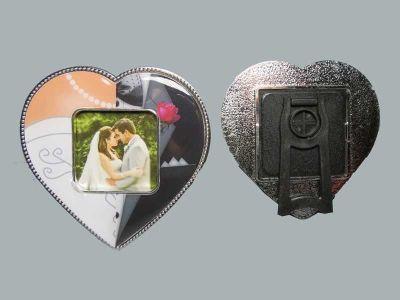 Gelin Damat Kalpli Magnet Çerçeve
