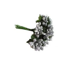 Çiçek Cipso Görünümünde Gümüş - Thumbnail