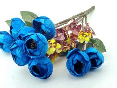 Çiçek El Buketi Şakayık Kadife Mavi