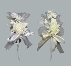 - Çiçek Hazır Ürün Süslenmiş Kuşlu Beyaz