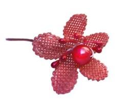 - incili Ve Tomurcuklu Kırmızı Çiçek