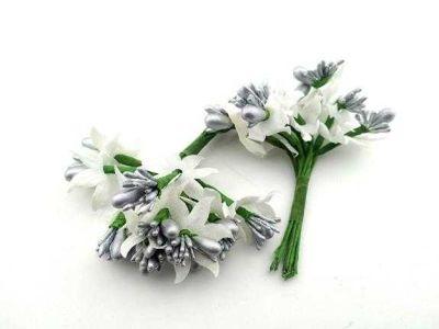 Çiçek Parlak Cipsolu Ve Tomurcuk Gümüş