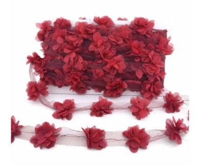 Çiçek Tül Laz.Kes.Büyük Bordo P10yard(120çiçek)