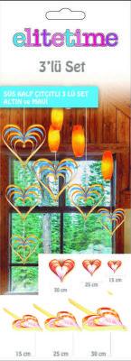 Çıtçıtlı Kalp Kapı Süsü 3 Lü Set Altın Ve Mavi