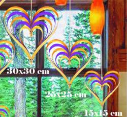 - Çıtçıtlı Kalp Kapı Süsü 3 Lü Set Altın Ve Mor