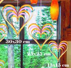 - Çıtçıtlı Kalp Kapı Süsü 3 Lü Set Altın Ve Pembe