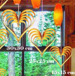 - Çıtçıtlı Kalp Kapı Süsü 3 Lü Set Metalize Altın