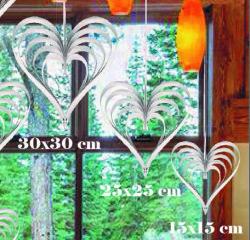 - Çıtçıtlı Kalp Kapı Süsü 3 Lü Set Metalize Gümüş