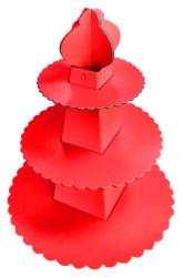 - Piramit Modeli Kırmızı Cupcake Standı