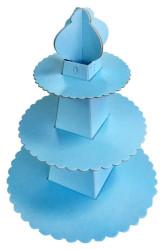 - Piramit Modeli Mavi Cupcake Standı