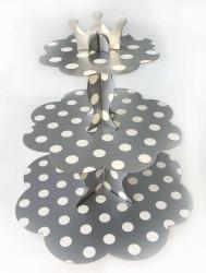 - Puantiyeli Gümüş Cupcake Standı