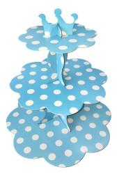 - Puantiyeli Mavi Cupcake Standı